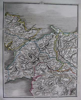 WALES ANGLESEA CAERNARVONSHIRE BANGOR   BY JOHN CARY GENUINE ANTIQUE MAP  c1824