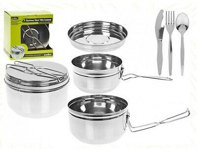 Summit 6 Piece Stainless Steel Tiffin Travel Camping Hiking Cookware Pan Set
