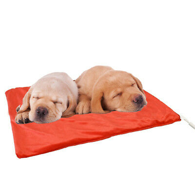 Electric Heated Pet Pad Bed Cat Dog Puppy Mat Red Fleece Cover Chew Resist Cable