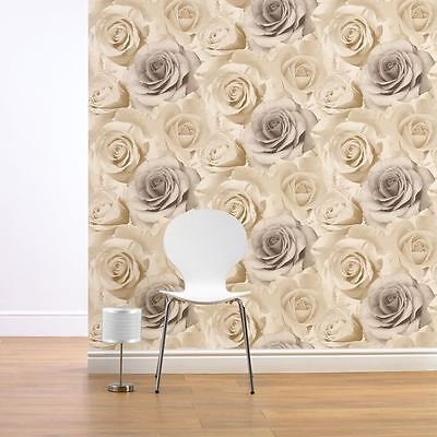 Madison Rose Floral Wallpaper Natural - Muriva 119504 Flowers Beige Cream