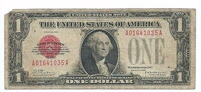 1928 $1 United States Red Seal Note $1 Legal Tender -- Circulated