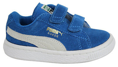Puma Suede 2 Straps Kids Trainers Shoes Blue White Leather 356274 02 D89