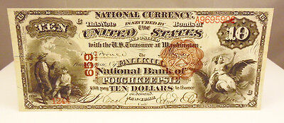 1884 US $10 National Currency 659 Poughkeepsie NY Paper Money Note AU About Unc