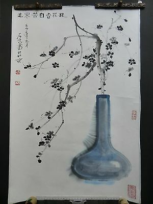 chinese painting still life with blossoms and vase artist calligraphy
