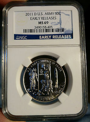 2011 D Army Commemorative Half Dollar 50c NGC MS 69 Early Release
