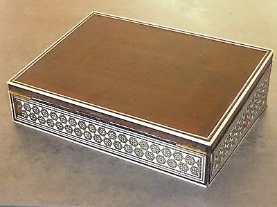 Gorgeous Antique Victorian Sadeli Work Small Wooden Writing Slope 1880s