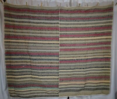 wool linen blanket coverlet stripped hand made narrow loom reenactment antique