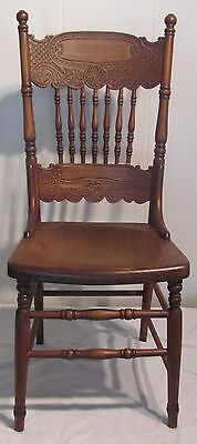 Antique Kitchen Wood Chair Double Press Back 7 Spindles Oak Solid Seat Dining