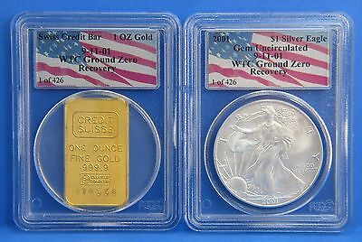 2001 WTC 911 Recovery Gem UNC Silver Eagle & Gold Swiss Credit Coin Set 1 of 426