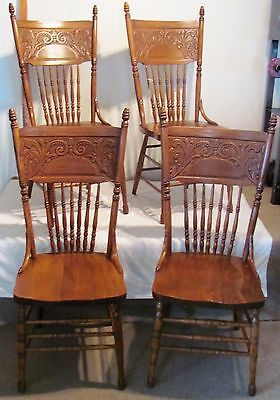 Vintage Set of 4 Dining Chairs 1940s Oak Wood Kitchen Chair 7 Spindles Antique