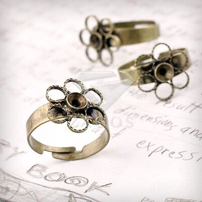 5/10pcs Ring Mountings Engagement Settings DIY Flower Antique Brass 4 Sizes