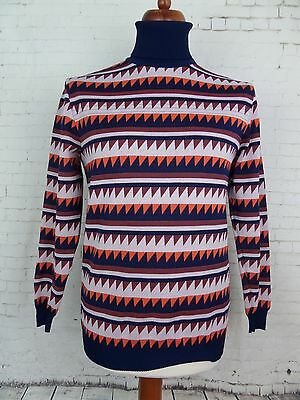 Vtg 1970s Patterned Polo / Roll Neck Jumper /  Top DDR -M- DV28