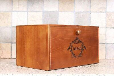 Natural Whittington Wooden Farmhouse Bread Bin with Drop-Down Front Lid
