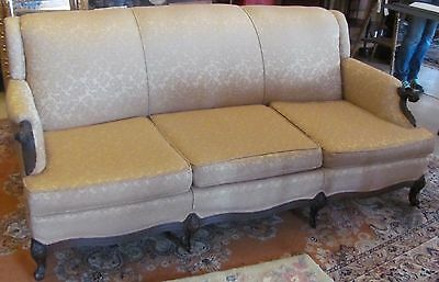 """Vintage 1930s Sofa Antique Couch Walnut 3 Cushion Casters 74"""" Wide 31"""" Tall"""