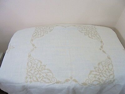 Vintage Linen Square Tea Tablecloth Embroidered Crocheted Corners French Country