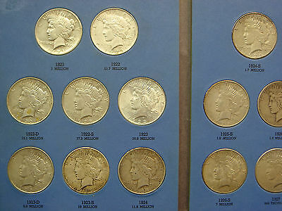 Complete Peace Silver Dollar Set 24 Coins 1921-1935 with Key 1928 & 1921