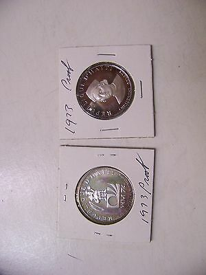 Two Haiti 25 Gourdes silver proof coins 1973 Soccer and National Arms rare