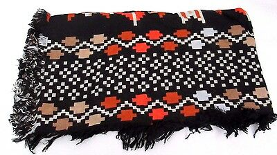 Theodora And Callum Womens Black Multi Durango Gypsy Fringe Scarf
