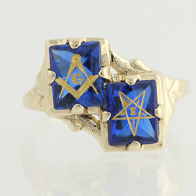 Order of the Eastern Star & Blue Lodge Sweetheart Ring - 14k Gold Syn. Spinel