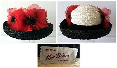 Vintage 1960's Ken Blair Black & White Straw Hat With Silk Poppies