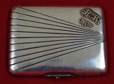 Antique Russian 84 Sterling Silver and Gold Cigarette Case