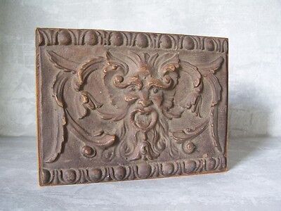 Carved GreenMan Wood Box, Vintage Wooden Trinket Box w/ Hinged Lid, VTG Unique
