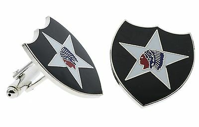US Army 2nd Second Infantry Division Indianhead Dress Cufflinks H14854CD125