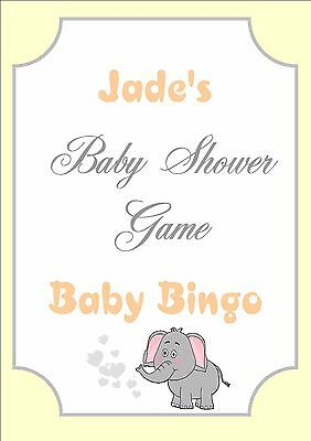 Personalised Baby Shower Bingo GameBumble BeeSelect your Sheet Qty