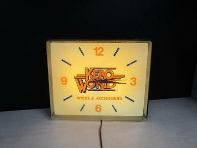 Vintage 1950's Kero World Wicks Kerosene Aladdin Lamp Advertising Electric Clock