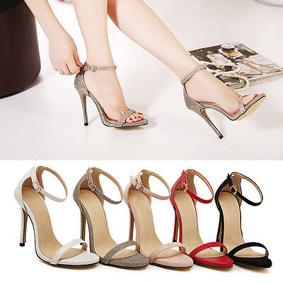 NEW Fashion Womens Ankle Strap Strappy Stiletto Cuff Toe High Heel Sandals Shoes