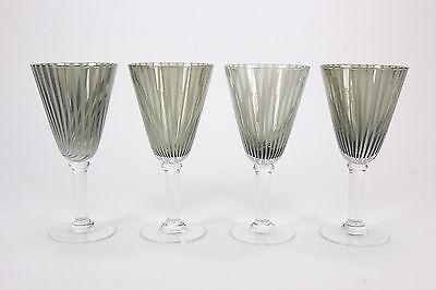 4 Hand Blown Smoky Gray & Opalescent Stripe Water Iced Tea Goblets MCM Stems