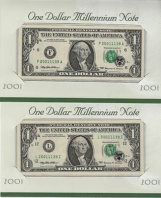 2001 Millennium Notes 2 With The Same Matching Serial Number Plus Nice Error