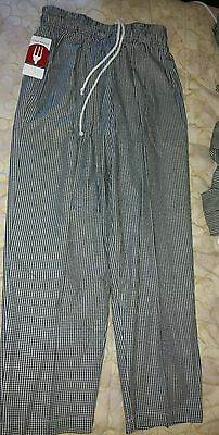 """NEW!  Chef Works BAGGY UNISEX  KITCHEN  UNIFORM Pants checkered size SMALL 31"""""""