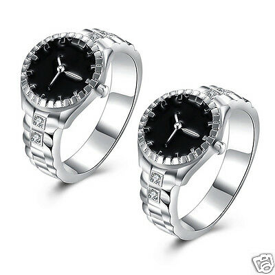 Women Ladies Silver Plated Bling Dazzling Zircon Finger Ring Watch Jewelry