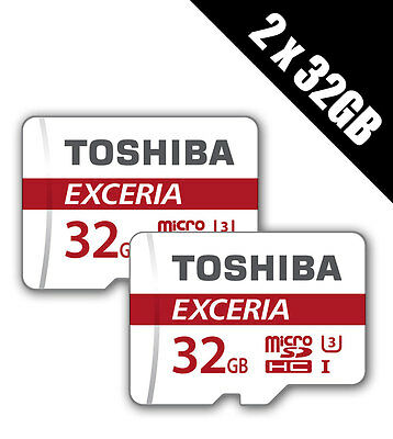 2 x Toshiba 32 GB EXCERIA M302 Micro SDHC UHS-I U3 Class 10 Cards with Adapters