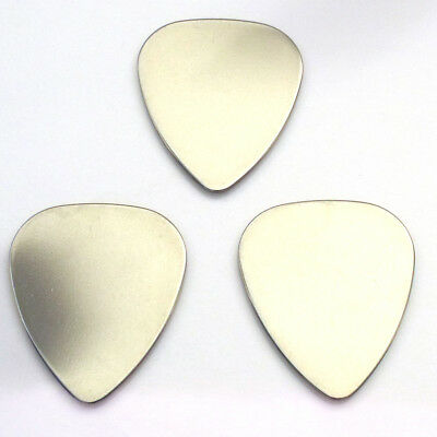 3 stainless steel metal guitar picks choice of shape & gauge