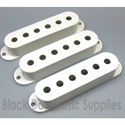 Set of 3 white single coil guitar pickup covers 50 or 52mm pole spacing strat