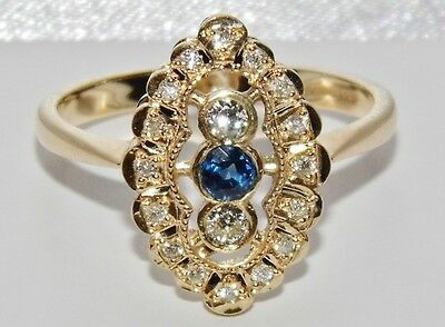 9ct Yellow Gold Art Deco Sapphire & Diamond Marquise Cluster Ring - size O