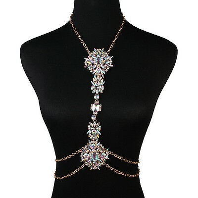 Luxury Rhinestone Crystal Gem Pendant Harness Body Chain Bikini Necklace Jewelry