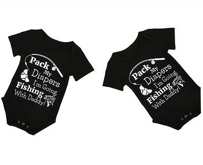 Newborn Baby Boy Girl Fishing Bodysuit Romper Jumpsuit Playsuit Outfits Clothes