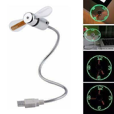 Unique Hot Selling Cool USB Mini Flexible Time LED Clock Fan with LED Light SN