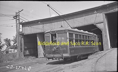 Biddeford & Saco Railroad (B&s) Original B&w Trolley Negative Of Car 607 In 1938