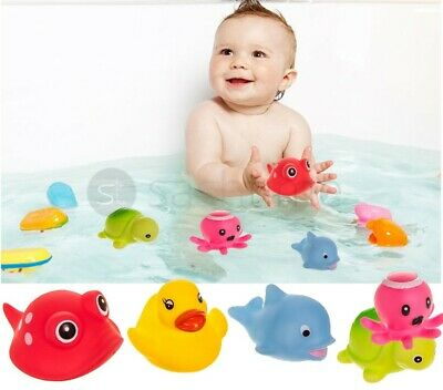 5x RUBBER SQUIRT SEASIDE PALS BATH TIME SQUIRTING WATER TOYS FLOAT KIDS PLAY FUN