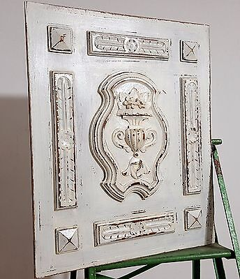 HAND CARVED WOOD PANEL ANTIQUE FRENCH SOLID SHABBY PAINTED GOTHIC CARVING 19th b