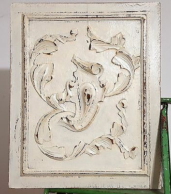 HAND CARVED WOOD PANEL ANTIQUE FRENCH SHABBY GOTHIC COAT OF ARMS CARVING 19th