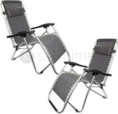 2 x Reclining Sun Lounger Outdoor Garden Patio Gravity Chair Adjustable Head