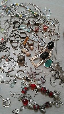 490 g sterling silver lot jewelry. pre owned condition. stones, beads, vintage+