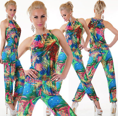 Sexy Flower Exotic Chino Jumpsuit OVERALL Catsuit Gr 34 36 38 40 TOP TREND