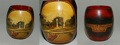 HAND PAINTED WOODEN POSY VASE - 1920's - CROSS OF SACRIFICE, ADELAIDE - RARE