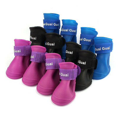 Dog Candy Colors Boots Waterproof Rubber Pet Rain Shoes Booties S/M/L Decro Gift